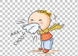 普通感冒流感症状流感季节病毒,生病的孩子,打喷嚏的男孩插图PNG图片