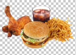 快餐垃圾食品膳食补充剂胃吃,油炸快餐,汉堡包旁边炸鸡和土豆薯条图片