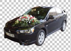 三菱蓝瑟新娘婚礼邀请花车,三菱黑色婚车PNG剪贴画紧凑型轿车,轿