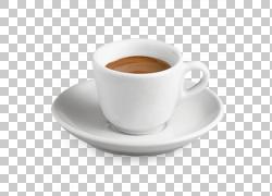 浓咖啡咖啡卡布奇诺拿铁茶,杯咖啡,棕色液体内白色陶瓷杯上板PNG图片
