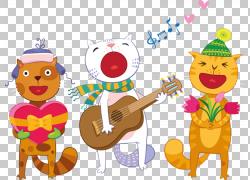 生日Ansichtkaart节日贺卡诗歌,唱歌小猫PNG剪贴画画,食物,手,贺图片