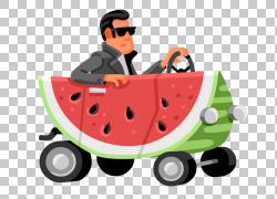 西瓜例证,开放汽车西瓜人PNG clipart食品,商务男人,汽车,男人剪