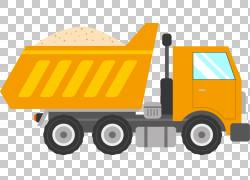 汽车运输贴纸土方工程,运输沙卡车,橙色自卸卡车插图PNG剪贴画货