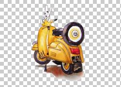 汽车摩托车水彩画,水彩摩托车,黄色小型摩托车画PNG剪贴画水彩叶