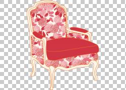 椅子座椅,红色软垫座椅PNG剪贴画家具,卡通,汽车,红色发光,红丝带