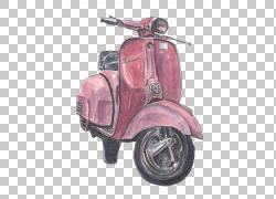 水彩画滑板车摩托车,滑板车PNG剪贴画插画家,绘画,运输,大黄蜂类,