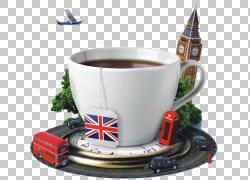在英国的英国茶全套早餐英语,咖啡杯周围的城市PNG剪贴画建筑,城