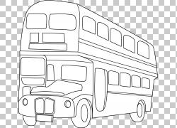 双层巴士绘制线条艺术,巴士PNG剪贴画角度,矩形,校车,运输方式,运