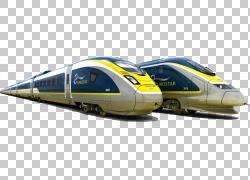圣潘克拉斯火车站海峡隧道火车欧洲之星铁路运输,两排黄色,绿色,