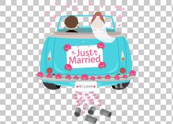 在夫妇的汽车,在与结婚的横幅例证PNG clipart的小野鸭车里面的新