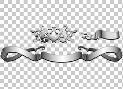 银色丝带横幅PNG剪贴画功能区,文本,底纹,单色,生日快乐矢量图像,