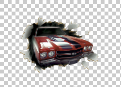 雪佛兰Chevelle壁饰墙贴花车,创意纸车休息,红色经典雪佛兰Camaro