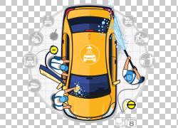 洗车汽车细节图,专业洗车店,橙色轿车插图PNG剪贴画汽车,汽车维修