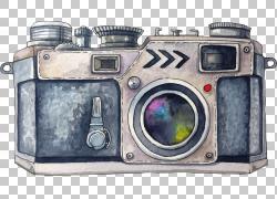 特洛伊汽车丰田汉兰达相机绘画,手绘水彩相机,灰色MILC相机PNG剪