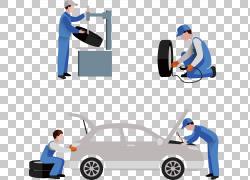 汽车修理轮胎修理,四辆汽车修理工插图PNG剪贴画其他,服务,汽车,