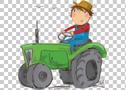 拖拉机农业,打开拖拉机PNG剪贴画孩子,打开,打开门,卡通,运输,车