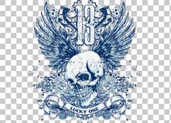 印花T恤CorelDRAW,涂鸦素材,白色和蓝色头骨幸运一张海报PNG剪贴