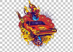 印花T恤连帽衫上衣,鲜花和汽车,红色和黄色骑或死车PNG剪贴画汽车