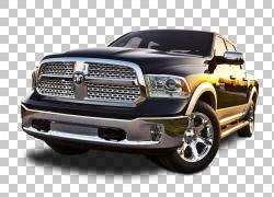 2015年RAM 1500 Ram皮卡车司机道奇车,道奇Ram 1500车前视图,黑色