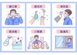 新冠状病毒防护宣传插画配图