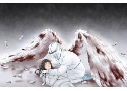 新冠状病毒肺炎白衣天使宣传插画配图