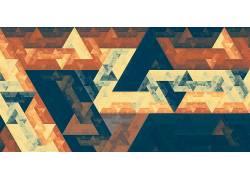 分形,隆起,斐波那契数列,六边形,三角形,数字艺术,金,抽象,金字