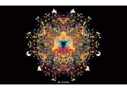 动漫,安迪吉尔摩,几何,黑色的背景,抽象,立方体,对称277