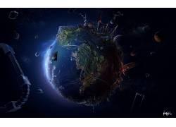 动漫,空间,抽象,地球,数字艺术,世界,幻想艺术,行星,路,地理,未来图片