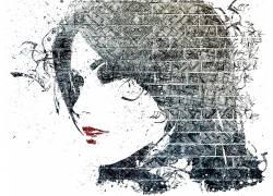 Alex Cherry,面对,抽象,红唇膏,壁,妇女,艺术品75366