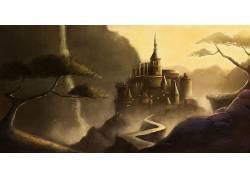 幻想艺术,艺术品,数字艺术,抽象,被遗弃的城市,树木,鸟类,路径,城