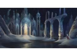 幻想艺术,艺术品,数字艺术,抽象,黑暗,雪,河,城堡408772