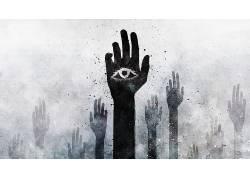 幻想艺术,视频游戏,艺术品,Alex Cherry,手,全视之眼,抽象,眼睛,