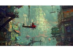 抽象,市,华美,幻想艺术,云,孩子286007图片
