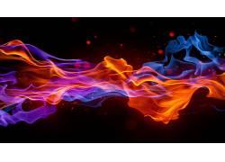 华美,抽象,数字艺术,形状,简单的背景,艺术品,抽烟,蓝色,红,火472