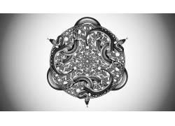M.C.埃舍尔,蛇,抽象,艺术品,单色,画画,圈,对称,隐匿性450708