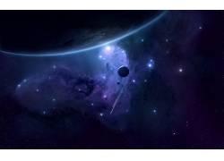 抽象,华美,行星,空间,太空艺术,数字艺术,星云,明星13167