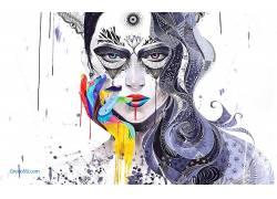 Minjae Lee,艺术品,绘画,妇女,镶嵌,超现实主义,面对,华美,数字艺