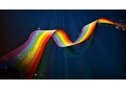 彩虹,抽象,华美,蓝色,数字艺术474