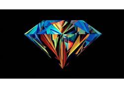 华美,抽象,贾斯汀马勒,钻石,面,黑色的背景24404