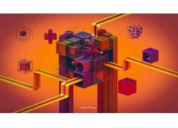 抽象,Lacza,华美,几何,数字艺术,3D,给予,立方体505189