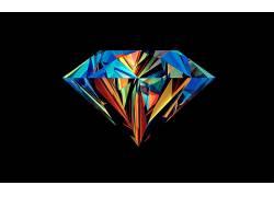 华美,抽象,贾斯汀马勒,钻石,面,黑色的背景31462