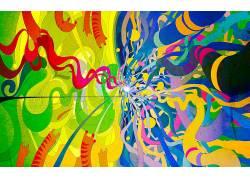华美,抽象,迷幻,艺术品,数字艺术79