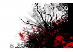 抽象,数字艺术,树木,头骨153690