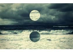 抽象,数字艺术,海,水,圈,地平线,云,黑暗,天空118582
