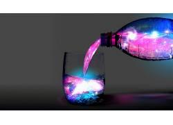 抽象,数字艺术,瓶子,液体,星系,魔法,水,玻璃,华美,喝杯酒,空间,