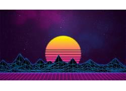 retrowave,Retrowave,紫色,紫色背景,粉,vaporwave,抽象,明星,选