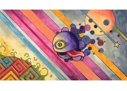 华美,数字艺术,抽象,线,眼睛,舌头,圈,明星,迷幻,超现实主义34210