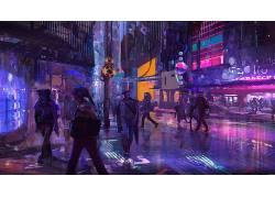 华美,科幻小说,抽象,头盔,数字艺术,人,未来,艺术品,市,网络,庞克图片