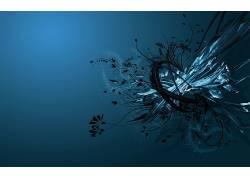 抽象,数字艺术,简单的背景,形状,蓝色背景22386图片