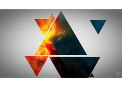 抽象,三角形,数字艺术,太空艺术43473